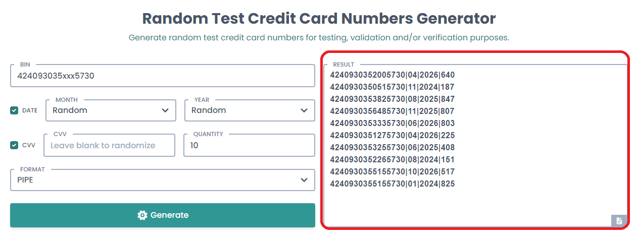 Generate Working Credit Card With Bin