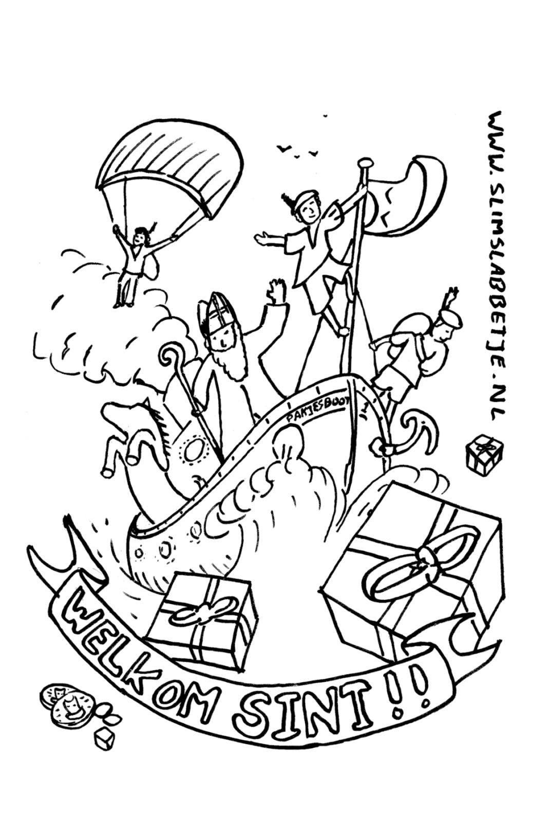 Nieuwe Kleurplaten Sinterklaas.Slim Slabbetje Blog Een Nieuwe Kleurplaat Voor Sinterklaas