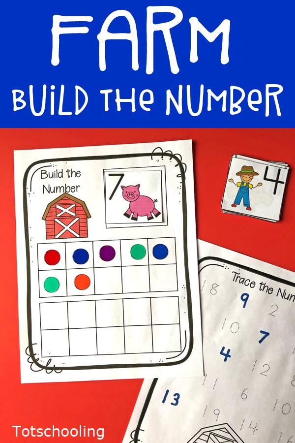 FREE printable Farm themed activity for preschool and kindergarten kids featuring ten frames and twenty frames. Great for practicing math skills and counting with cute farm animals!