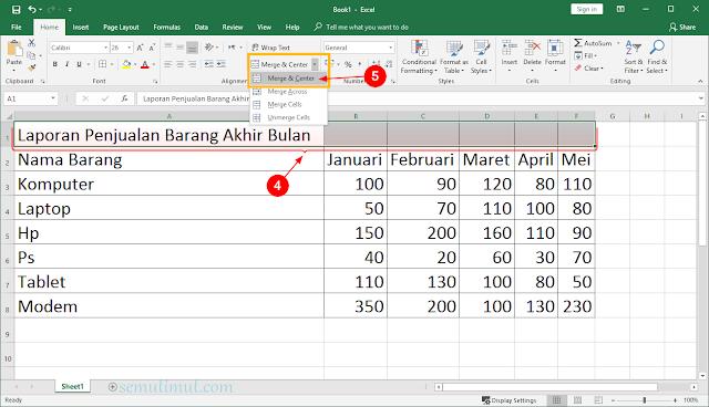 cara membuat tabel di excel 2013