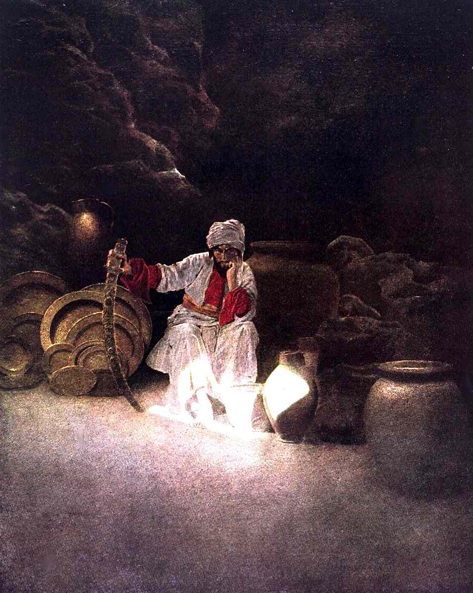 a Maxfield Parrish book illustration for Arabian Nights, guarding treasure in a cave