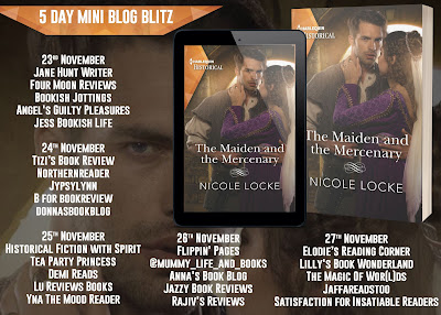 The Maiden and the Mercenary by Nicole Locke blog tour banner
