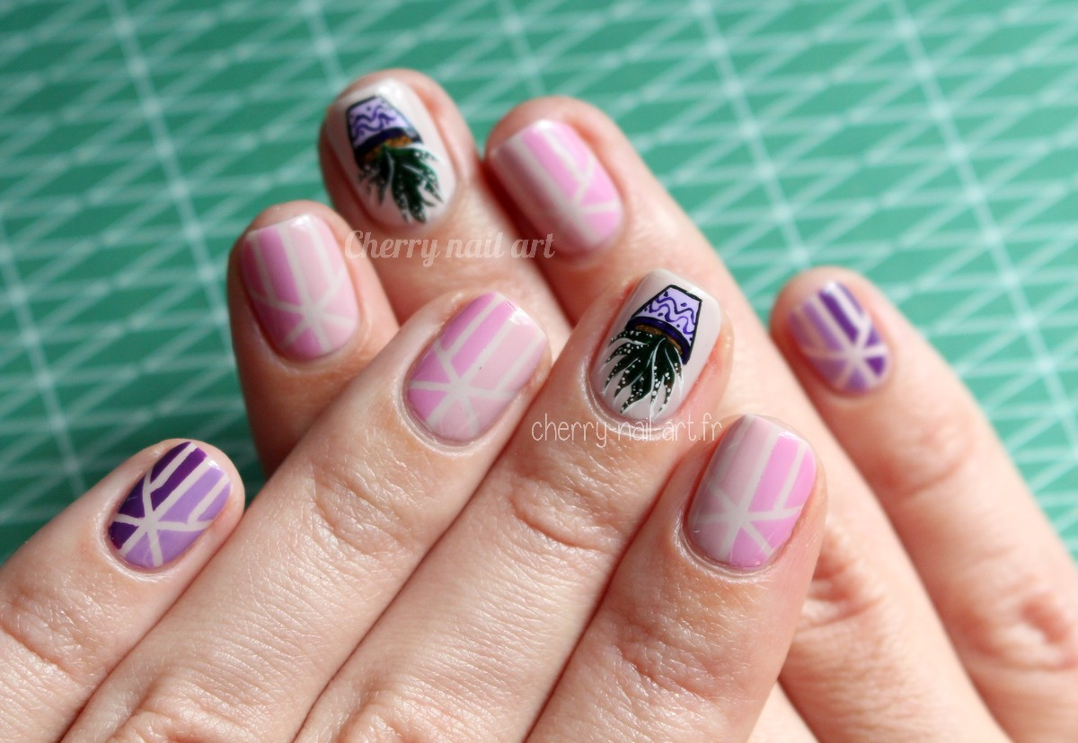 nail-art-plante-grasse-géométrique-stripping-tape