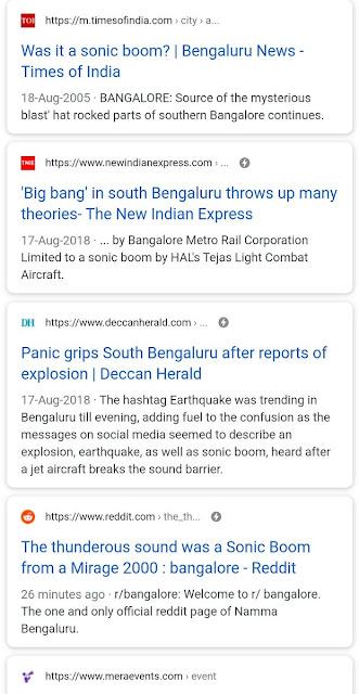 Supersonic boom heard in bangalore