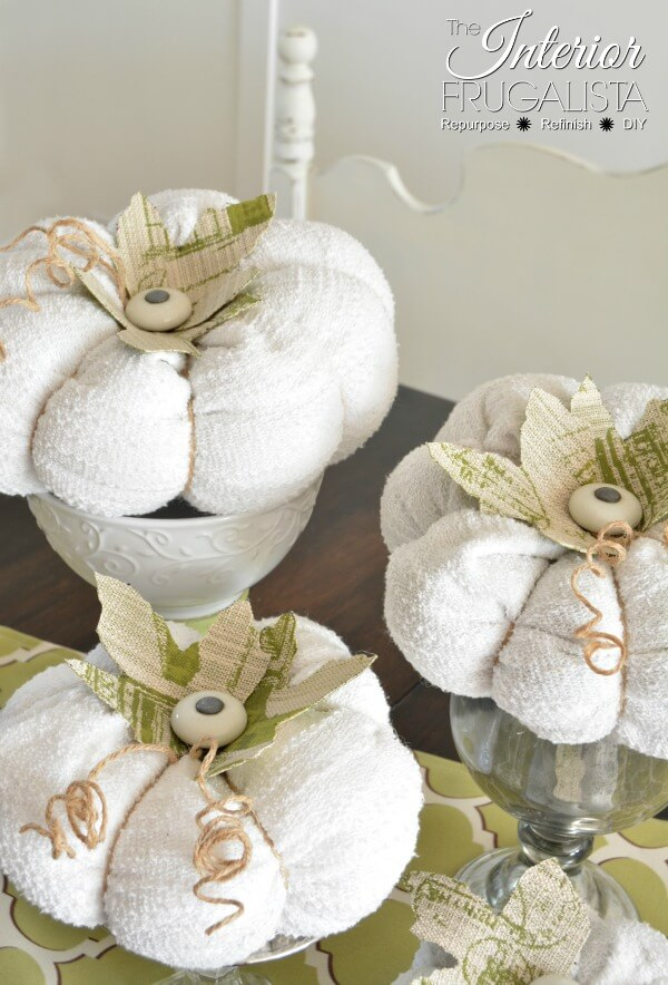 Sweater Pumpkins With Kitchen Cabinet Knob Stems