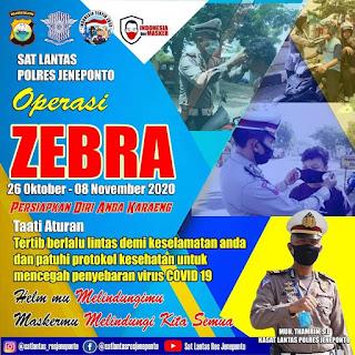 Jangan Sampai Ditilang, Satlantas Polres Jeneponto Akan Gelar Operasi Zebra 2020