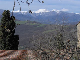 The snow capped Corno alle Scale mountain is close to Biagi's home village of Lizzano in Belvedere