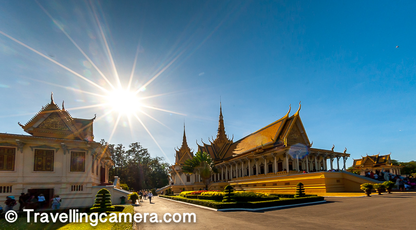 The Royal Palace complex can easily take half a day to explore properly. Apart from the regular buildings, you will also find a miniature model of the Angkor Wat. If you are lucky, you can catch great reflections in your sunglasses here.