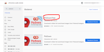 mendownload  pindown free dari webstore