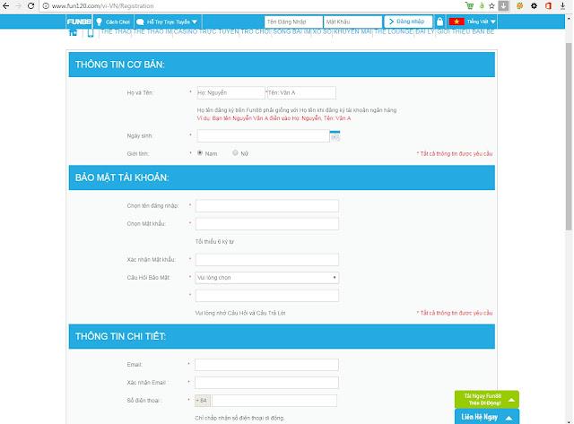 Hướng dẫn đăng ký fun88, hình thông tin khách hàng