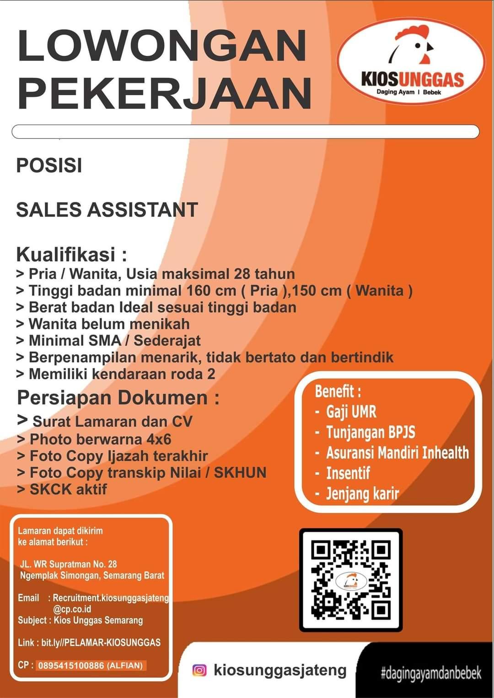 Dibuka Lowongan Pekerjaan Posisi Sales Assistant di Kios Unggas Semarang Barat