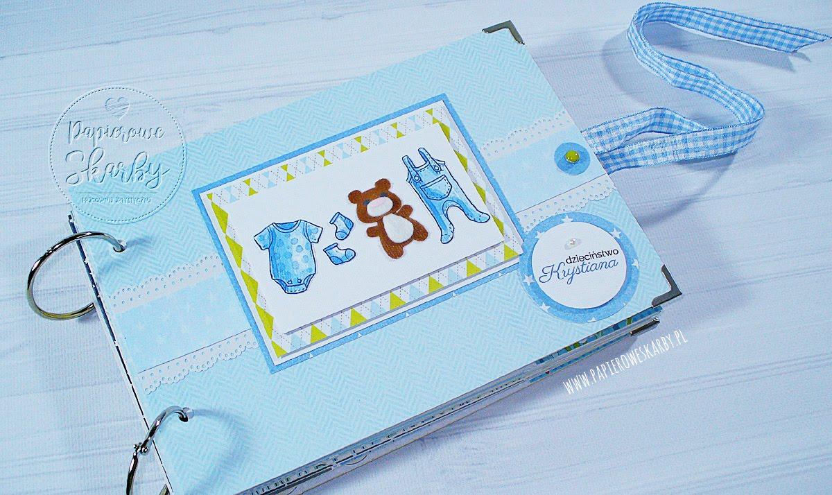 album scrapbooking handmade rękodzieło dla dziecka chłopczyka zdjęcia dzieciństwo z dzieciństwa roczek chrzest święty