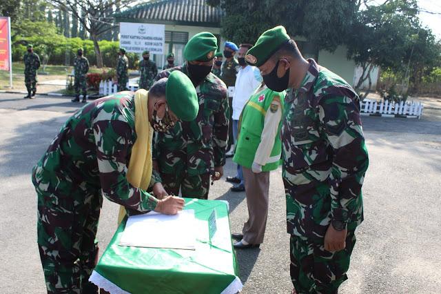 Kunjungan Danrem 043 Gatam Lampung ke Kodim 0426 Tuba: Anggota Kodim Harus Laksanakan Tugas dengan Protap Kesehatan