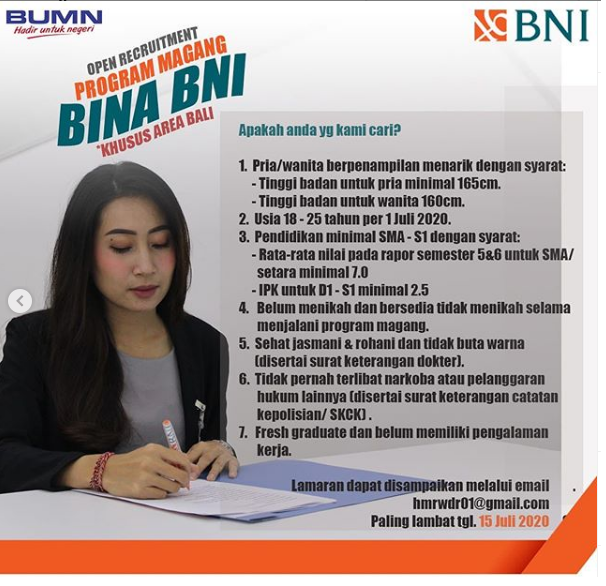 Lowongan Kerja BINA Bank BNI Tingkat SMA D3 S1 Bulan Juli 2020