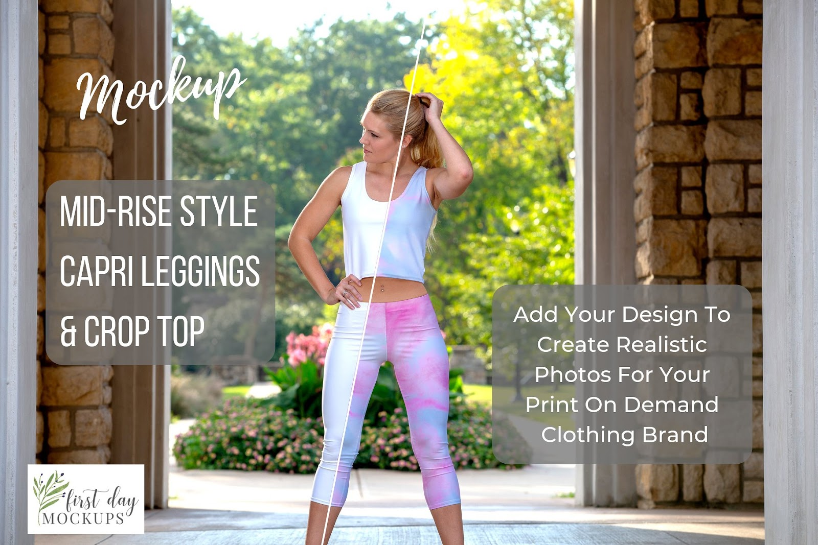 Leggings Mid-rise & Crop Top Mockup