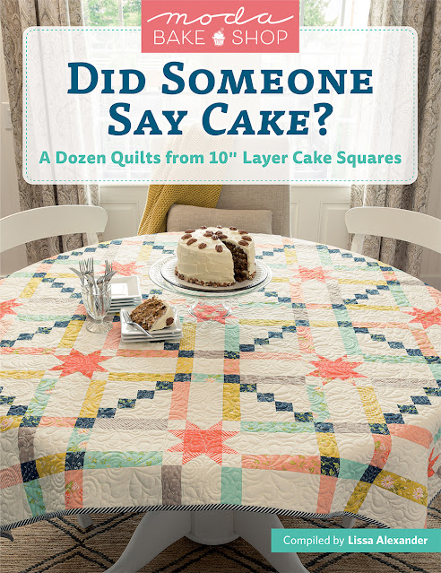 """Moda Bake Shop Book""""Did Someone Say Cake""""Cover Quilt by蓟灌木丛工作室。www.thistlethicketstudio.com"""