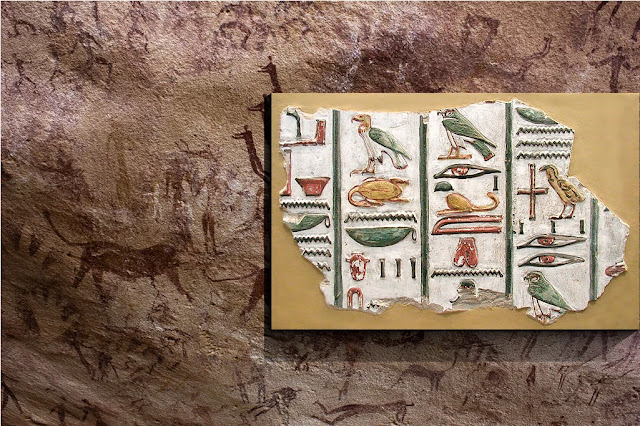 Hieroglyphics compared to cave drawings - CeramicWallDecor