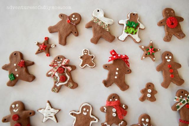 gingerbread men ornaments with cinnamon salt dough