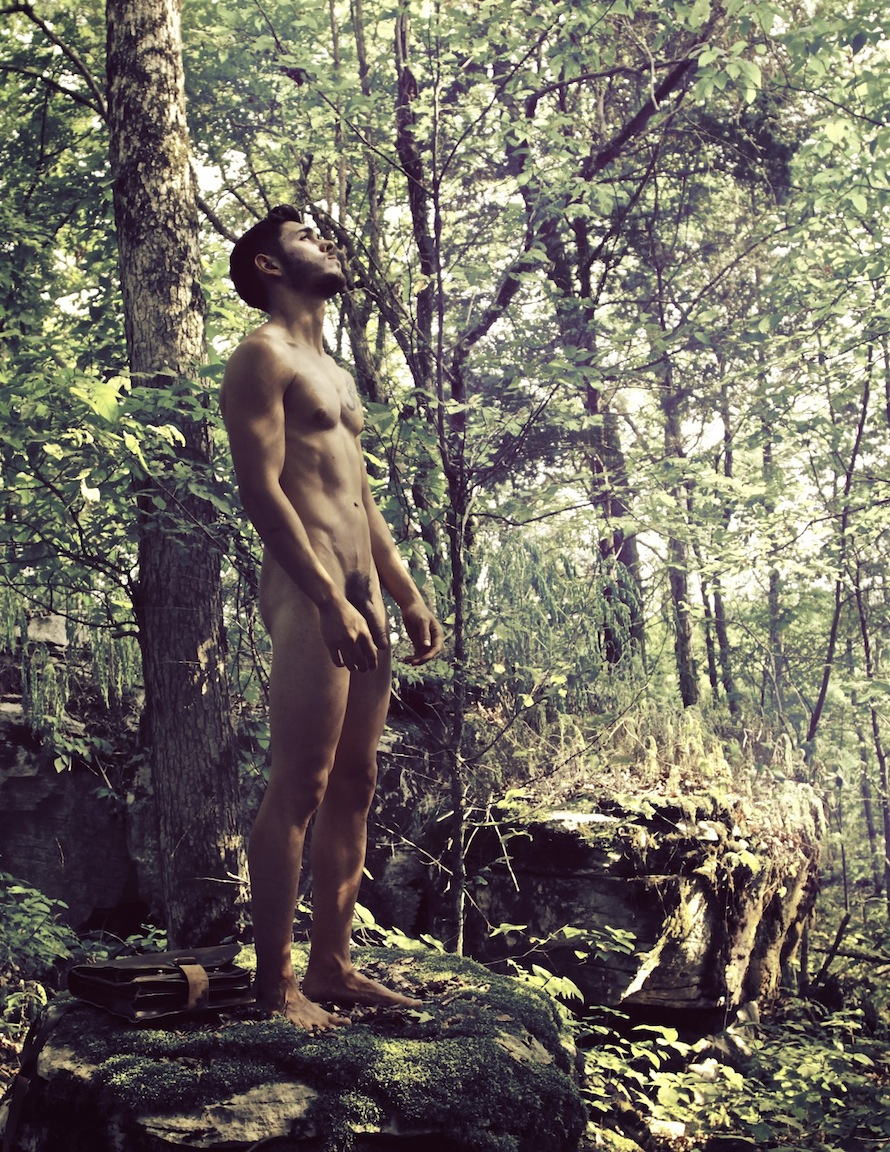 Nude male in the woods
