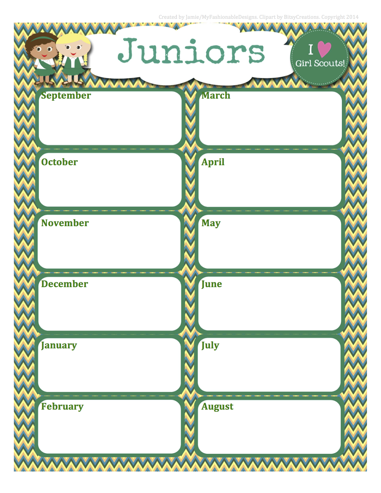 My Fashionable Designs Girl Scouts Free Juniors Calendar