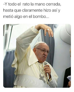 Papa Francisco explicando meten bola lotería Navidad