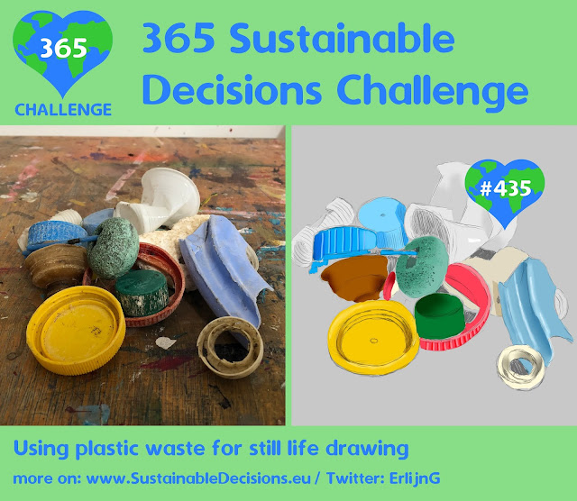 On the left a picture of plastic waste; on the right a drawing of this plastic waste
