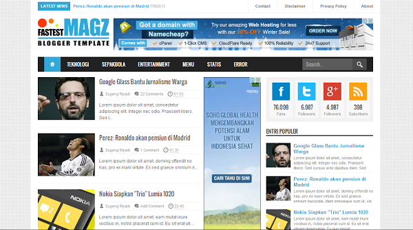 Fastest Magz Blogger Template karya Mas Sugeng