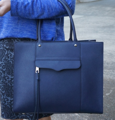 Rebecca Minkoff medium MAB tote in moon navy saffiano leather