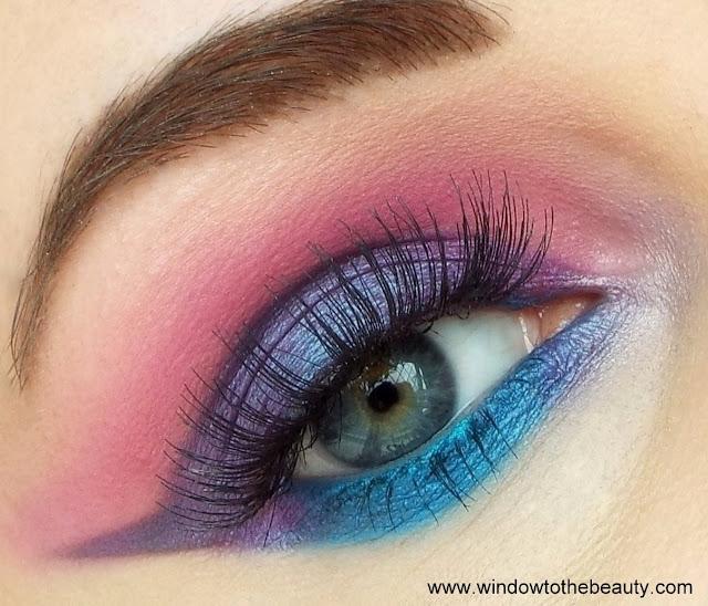 niebiesko- różowo - fioletowy makijaży