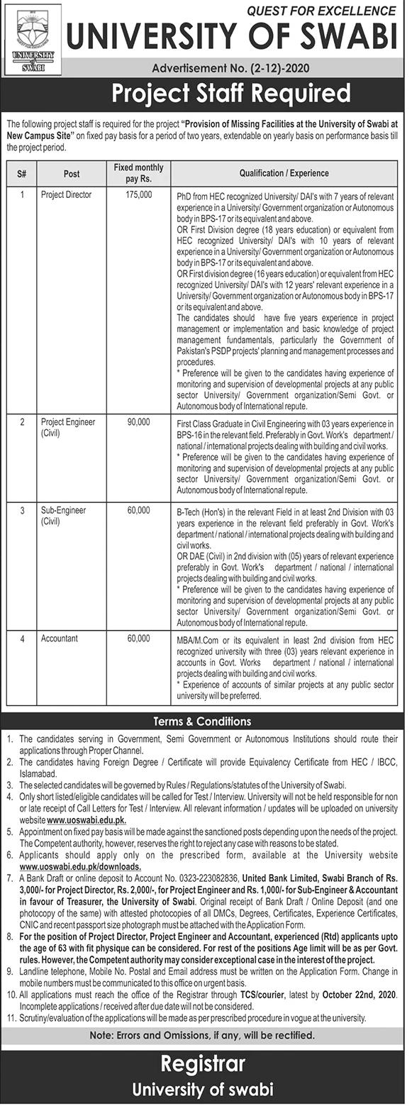 University of Swabi Job Advertisement in Pakistan - Apply Online - www.uoswabi.edu.pk