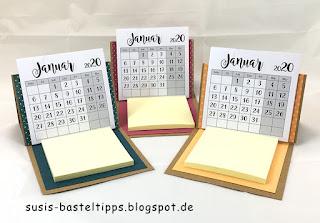 Tischkalender zum selbstbauen mit stampin up diy kalender abreisskalender jahreswechsel geschenk mitbringsel demonstratorin in coburg produkte bestellen