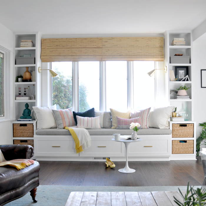crazy wonderful built in window seat and shelves