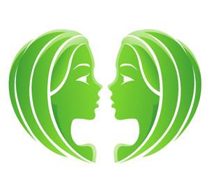 Imagen de las dos caras del signo del zodiaco Géminis en color verde
