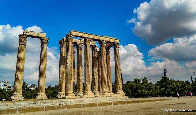 O Templo de Zeus Olímpico, em Atenas