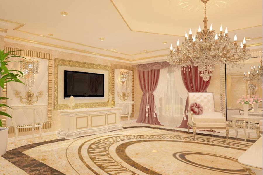 Firma amenajari interioare in Bucuresti - Design interior living stil clasic de lux Bucuresti