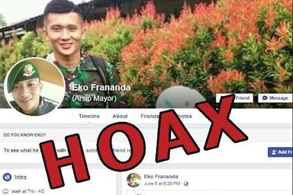 Akun Palsu Eko Frananda mencemarkan nama baik TNI AD