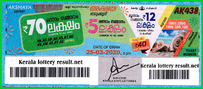 LIVE: Kerala Lottery Result 25-03-2020 Akshaya AK-438 Lottery Result