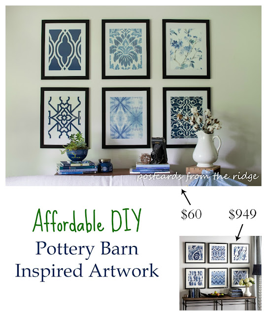 Pottery Barn inspired artwork for a fraction of the price. Looks like designer artwork! Postcards from the Ridge.