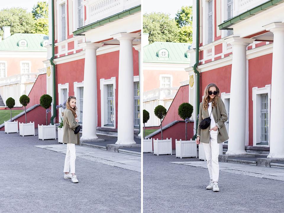 Autumn outfit with white jeans and green blazer - Syyasasu valkoisten farkkujen ja vihreän bleiserin kanssa