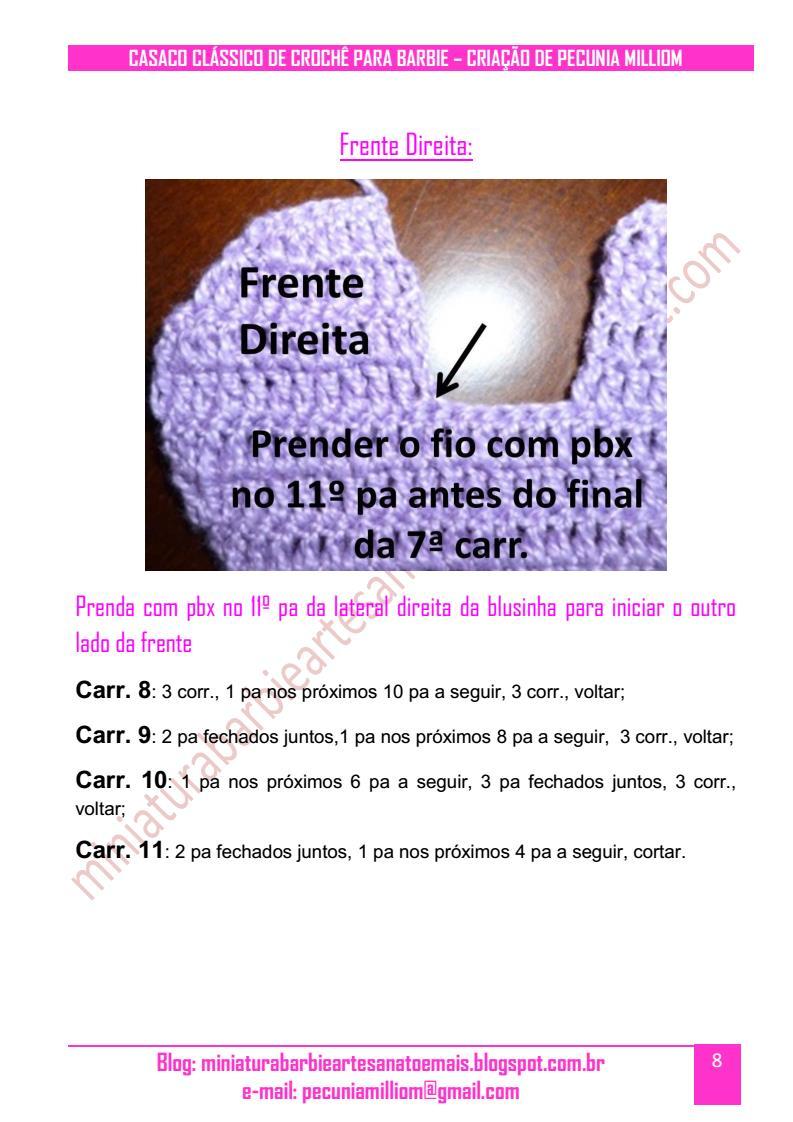 Casaco Clássico de Crochê Para Boneca Barbie Passo a Passo pag. 8