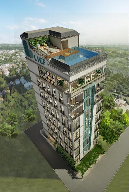 Thiết kế mặt ngoài của khách sạn boutique cao tầng