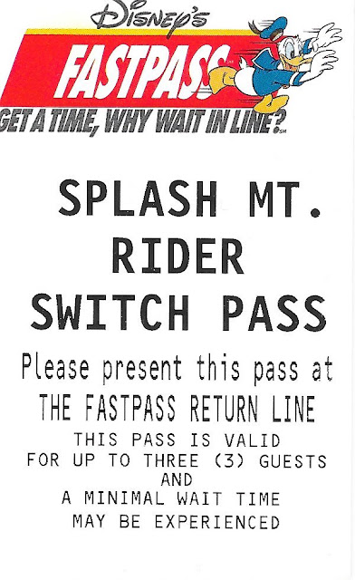 Splash Mountain Rider Switch Pass Disney Fastpass Magic Kingdom