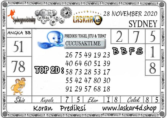 Prediksi Togel SYDNEY LASKAR4D 28 NOVEMBER 2020