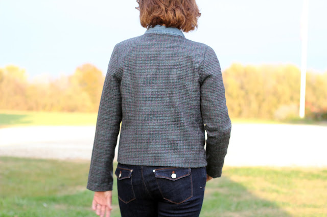 Simplicity 8093 with front notched collar made from Mood Fabrics' blue plaid wool