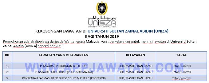 Jawatan Kosong Terkini di Universiti Sultan Zainal Abidin (UNIZA).