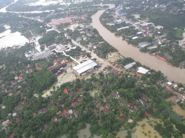 Aerial View of Kelaniya kelani river flood