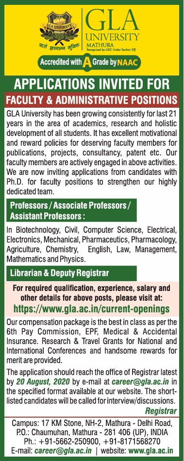GLA University Biotech Faculty Jobs 2020 August