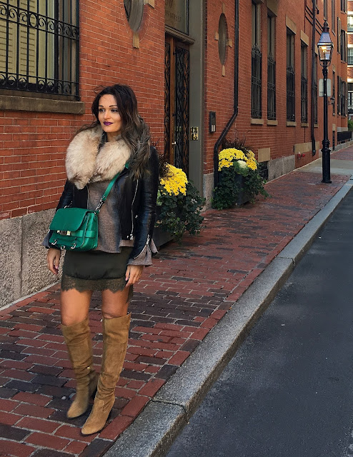 Boston, fall outfit, layered outfit, how to layer clothes, over the knee boots outfit, kako nositi cizme preko kolena, kako se obuci za jesen, toronto blogger, aldo boots and zara sweater, affordable fashion outfit, best blogger outfits, how to style leather jacket, outfits with leather jacket, outfits with sweaters