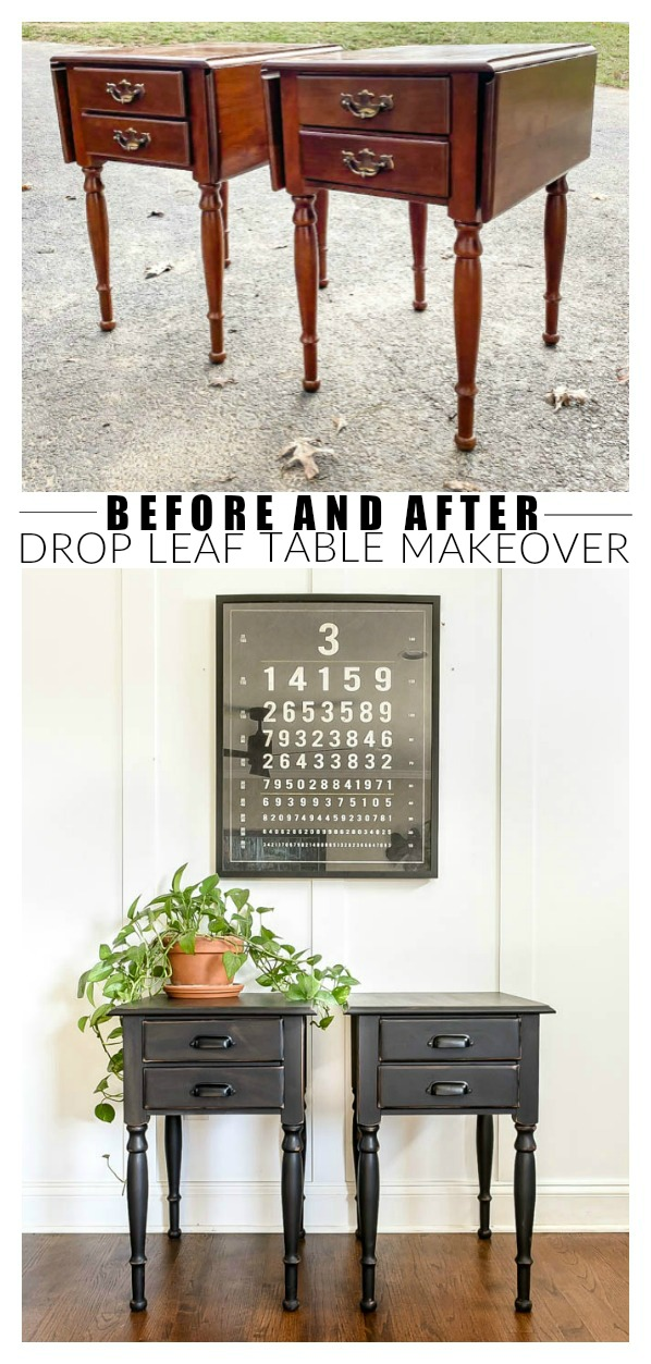 Before and after drop leaf table makeover
