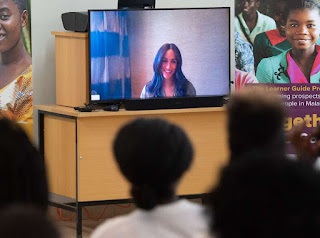 Duke and Duchess of Sussex in Malawi - Meghan by Skype